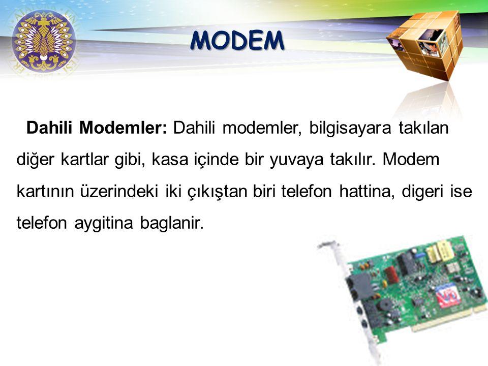 LOGO MODEM Modemler, dahili (Internal) ve harici (External) olmak üzere iki çeşittir.