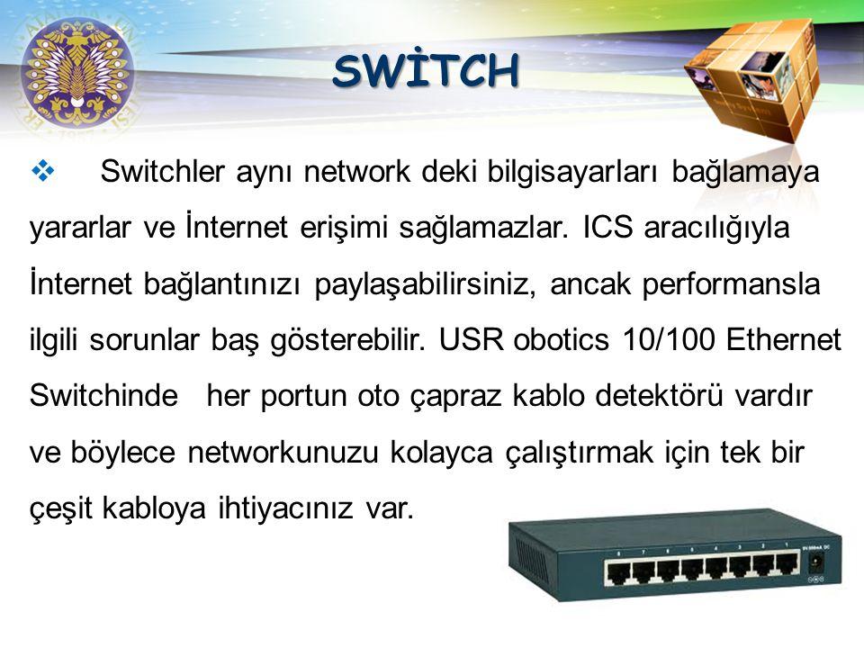 LOGO SWİTCH Switch bir hub gibidir fakat bağlandığı bilgisayarın IP adresini kayıt eder.Bir mesaj aldığında bunu yalnızca gönderilmesi gereken bilgisa