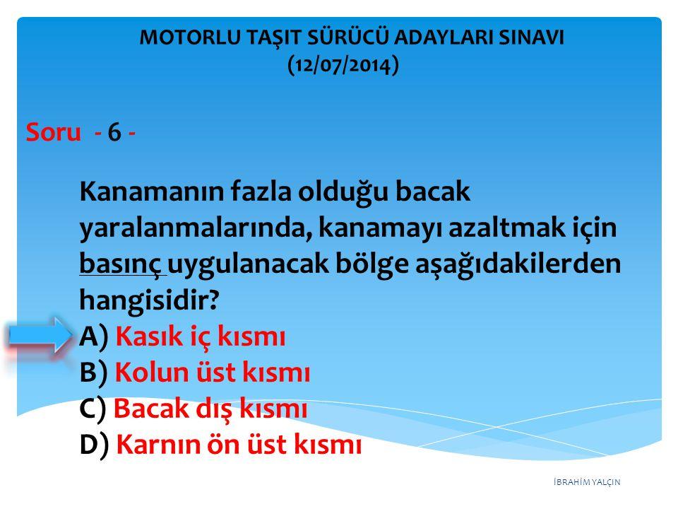 İBRAHİM YALÇIN MOTORLU TAŞIT SÜRÜCÜ ADAYLARI SINAVI (12/07/2014) Soru - 17 - Trafik görevlisinin geceleyin ışıklı işaret çubuğunu şekildeki gibi hareket ettirmesinin sürücüler için anlamı nedir.