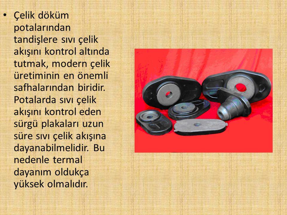 SÜRGÜ PLAKA REFRAKTERLERİ Sürgü plaka refrakterleri, katran ile doyurulmuş ve pişirilmiş refrakterlerden üretilir.