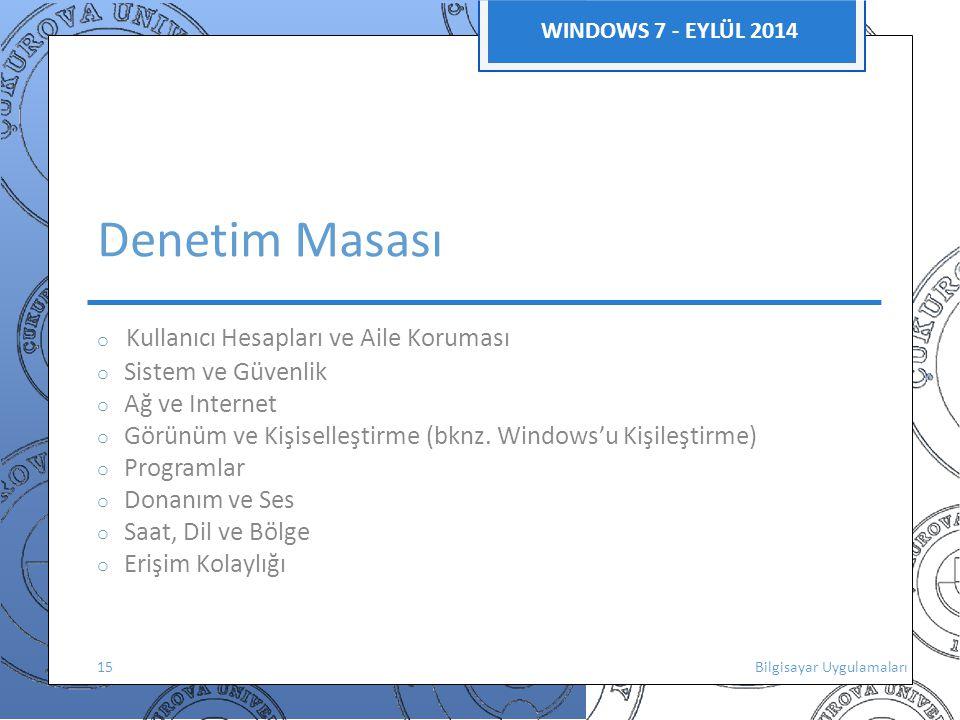 WINDOWS 7 - EYLÜL 2014 Denetim Masası o Kullanıcı Hesapları ve Aile Koruması o Sistem ve Güvenlik o Ağ ve Internet o Görünüm ve Kişiselleştirme (bknz.