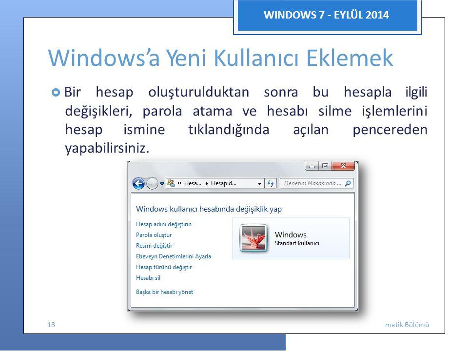 Enfor WINDOWS 7 - EYLÜL 2014 Windows'a Yeni Kullanıcı Eklemek  Bir hesap oluşturulduktan sonra bu hesapla ilgili değişikleri, parola atama ve hesabı silme işlemlerini hesapismine tıklandığında açılan pencereden yapabilirsiniz.