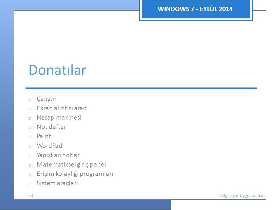 WINDOWS 7 - EYLÜL 2014 Donatılar o Çalıştır o Ekran alıntısı aracı o Hesap makinesi o Not defteri o Paint o WordPad o Yapışkan notlar o Matematiksel giriş paneli o Erişim kolaylığı programları o Sistem araçları 23 Bilgisayar Uygulamaları