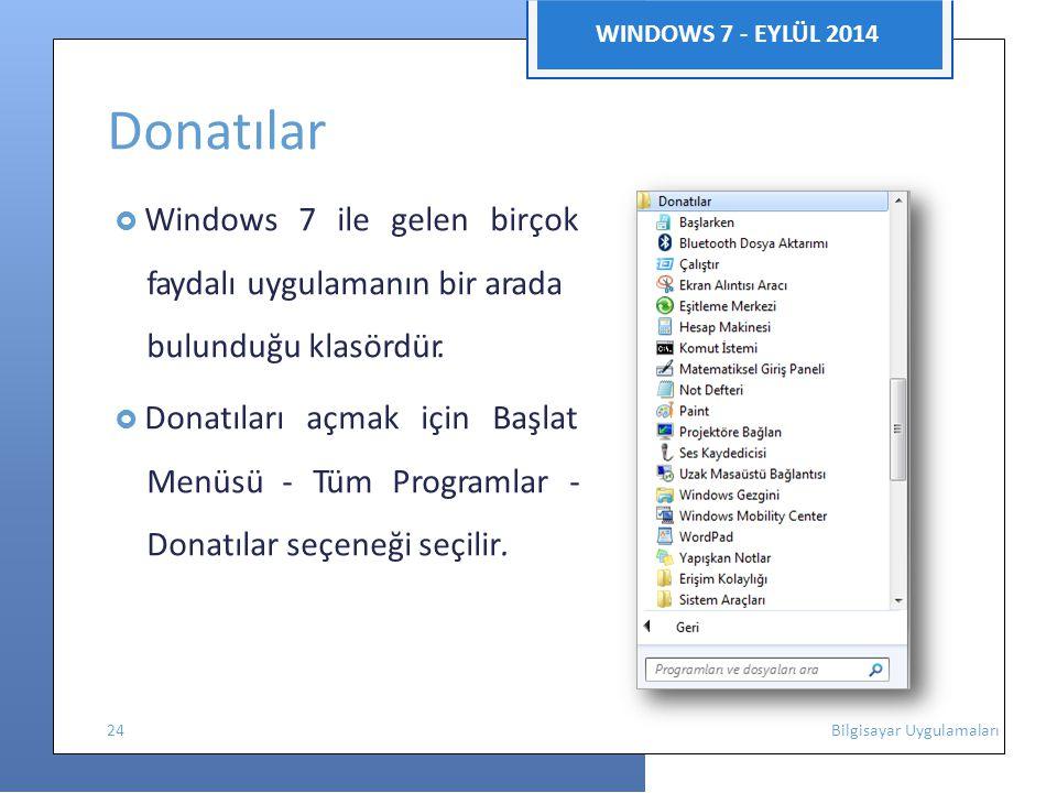 WINDOWS 7 - EYLÜL 2014 Donatılar  Windows 7 ile gelen birçok faydalı uygulamanın bir arada bulunduğu klasördür.  Donatıları açmak için Başlat Menüsü