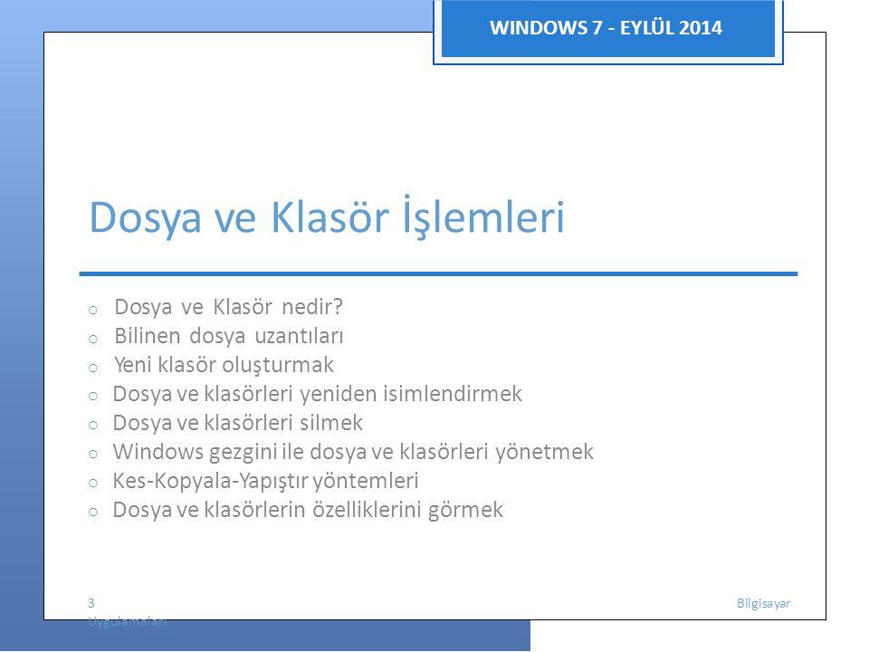 WINDOWS 7 - EYLÜL 2014 Dosya ve Klasör İşlemleri o Dosya ve Klasör nedir? o Bilinen dosya uzantıları o Yeni klasör oluşturmak o Dosya ve klasörleri ye