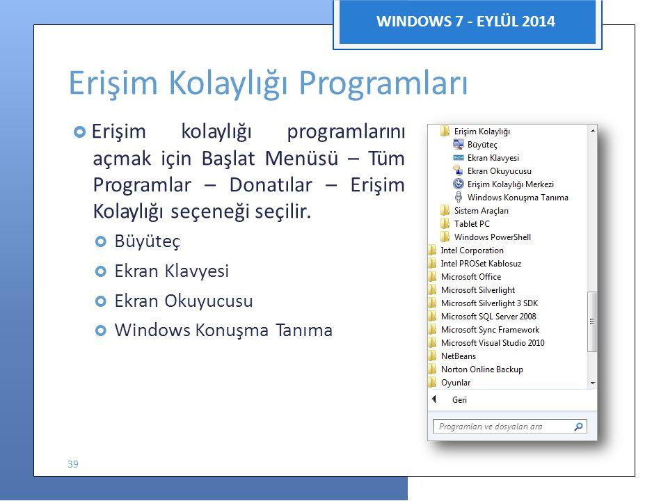 Bilgisayar Uygulamaları WINDOWS 7 - EYLÜL 2014 Erişim Kolaylığı Programları  Erişim kolaylığı programlarını açmak için Başlat Menüsü – Tüm Programlar – Donatılar – Erişim Kolaylığı seçeneği seçilir.
