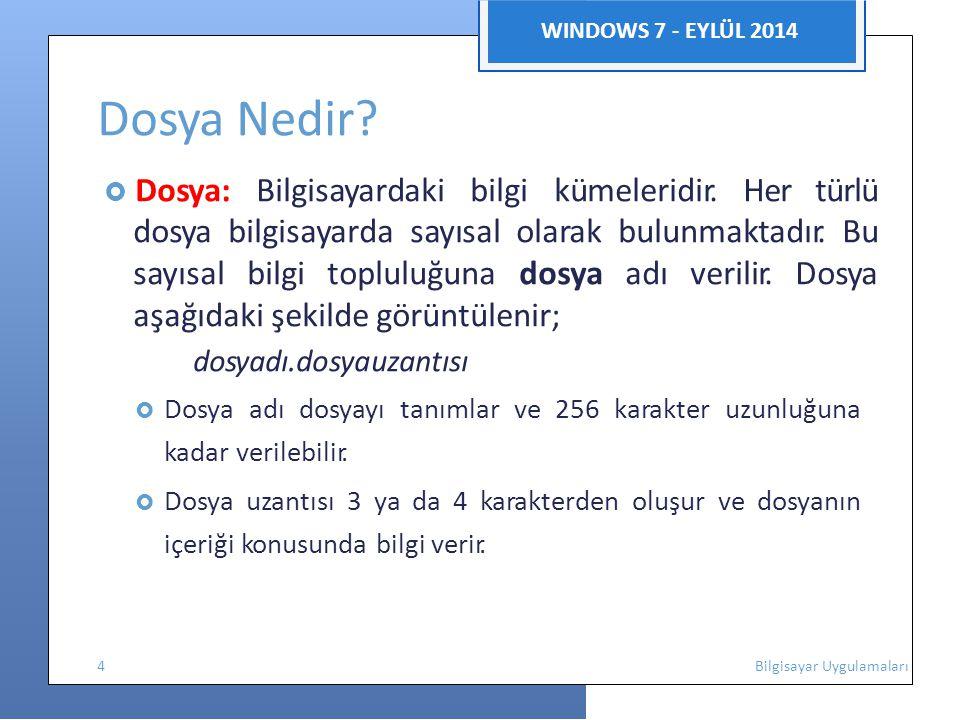WINDOWS 7 - EYLÜL 2014 Dosya Nedir?  Dosya: Bilgisayardaki bilgi kümeleridir. Her türlü dosya bilgisayarda sayısal olarak bulunmaktadır. Bu sayısal b