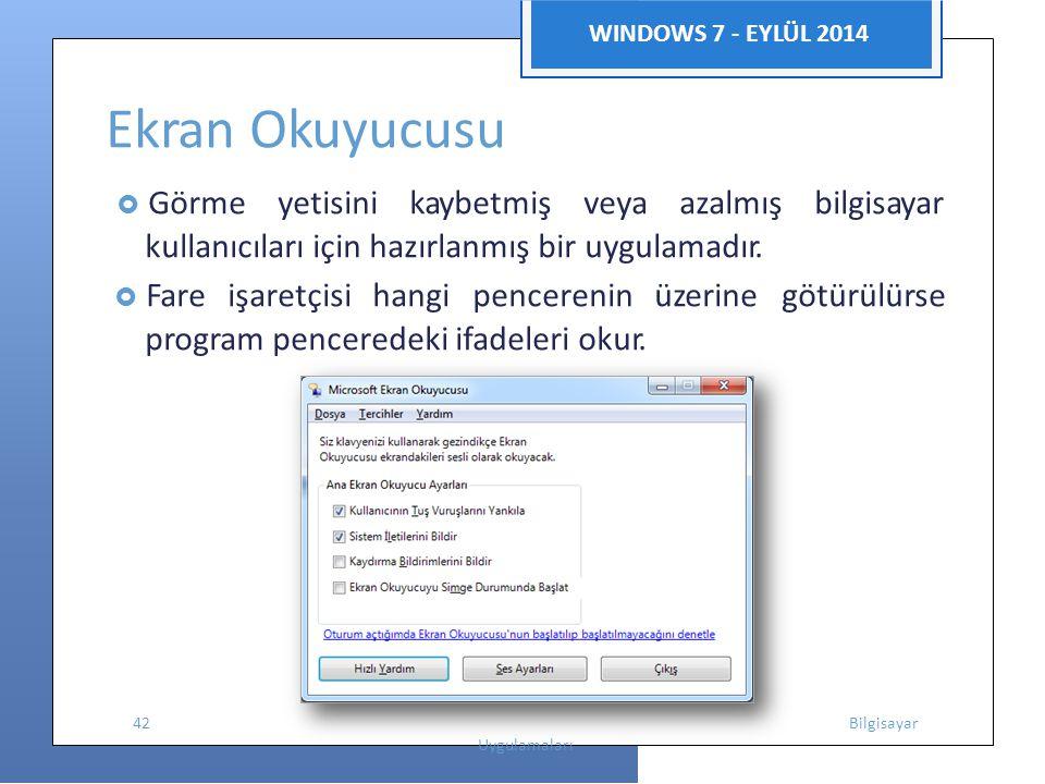 WINDOWS 7 - EYLÜL 2014 Ekran Okuyucusu  Görme yetisini kaybetmiş veya azalmış bilgisayar kullanıcıları için hazırlanmış bir uygulamadır.  Fare işare