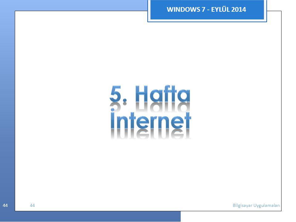 WINDOWS 7 - EYLÜL 2014 44 44 Bilgisayar Uygulamaları