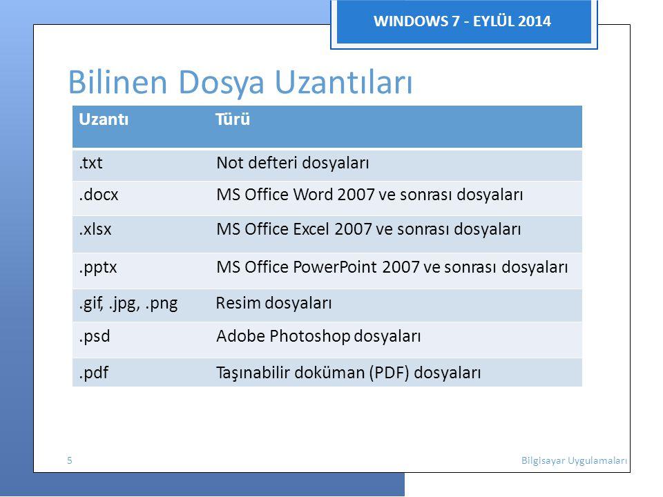 WINDOWS 7 - EYLÜL 2014 Bilinen Dosya Uzantıları Uzantı Türü.txt Not defteri dosyaları.docx MS Office Word 2007 ve sonrası dosyaları.xlsx MS Office Excel 2007 ve sonrası dosyaları.pptx MS Office PowerPoint 2007 ve sonrası dosyaları.gif,.jpg,.png Resim dosyaları.psd Adobe Photoshop dosyaları.pdf Taşınabilir doküman (PDF) dosyaları 5 Bilgisayar Uygulamaları
