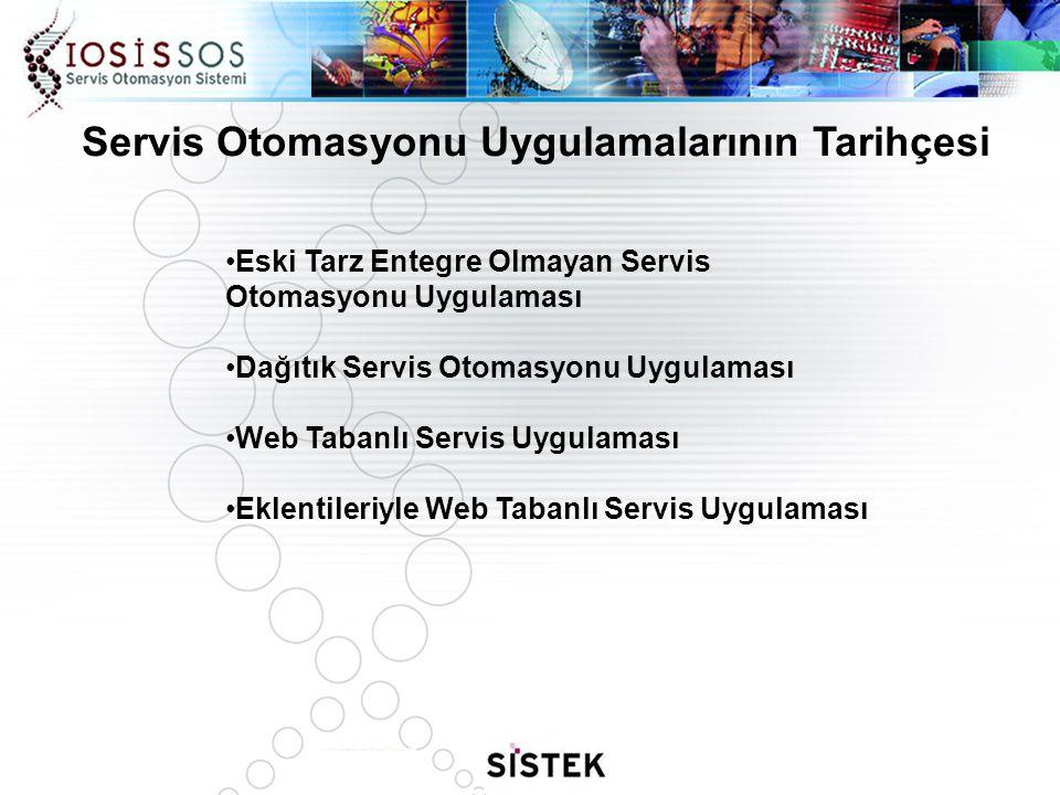 Servis Otomasyonu Uygulamalarının Tarihçesi Eski Tarz Entegre Olmayan Servis Otomasyonu Uygulaması Dağıtık Servis Otomasyonu Uygulaması Web Tabanlı Se
