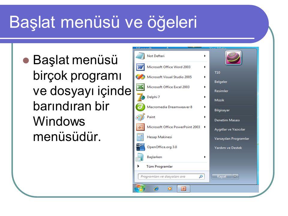 Başlat Menüsünün başlıca öğeleri Başlat menüsünün başlıca öğeleri Tüm programlar,programları ve dosyaları ara menüsü ve kapat butonunu içerir.