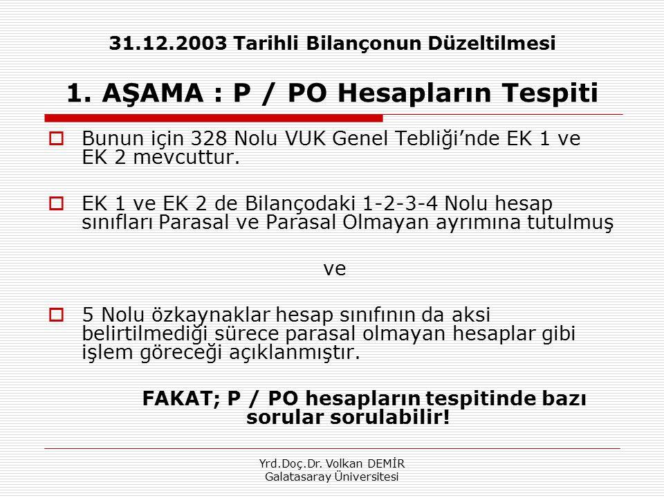 Yrd.Doç.Dr. Volkan DEMİR Galatasaray Üniversitesi 31.12.2003 Tarihli Bilançonun Düzeltilmesi 1. AŞAMA : P / PO Hesapların Tespiti  Bunun için 328 Nol