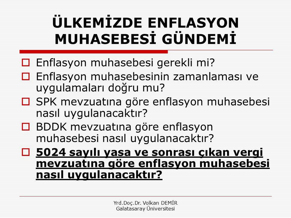 Yrd.Doç.Dr. Volkan DEMİR Galatasaray Üniversitesi ÜLKEMİZDE ENFLASYON MUHASEBESİ GÜNDEMİ  Enflasyon muhasebesi gerekli mi?  Enflasyon muhasebesinin