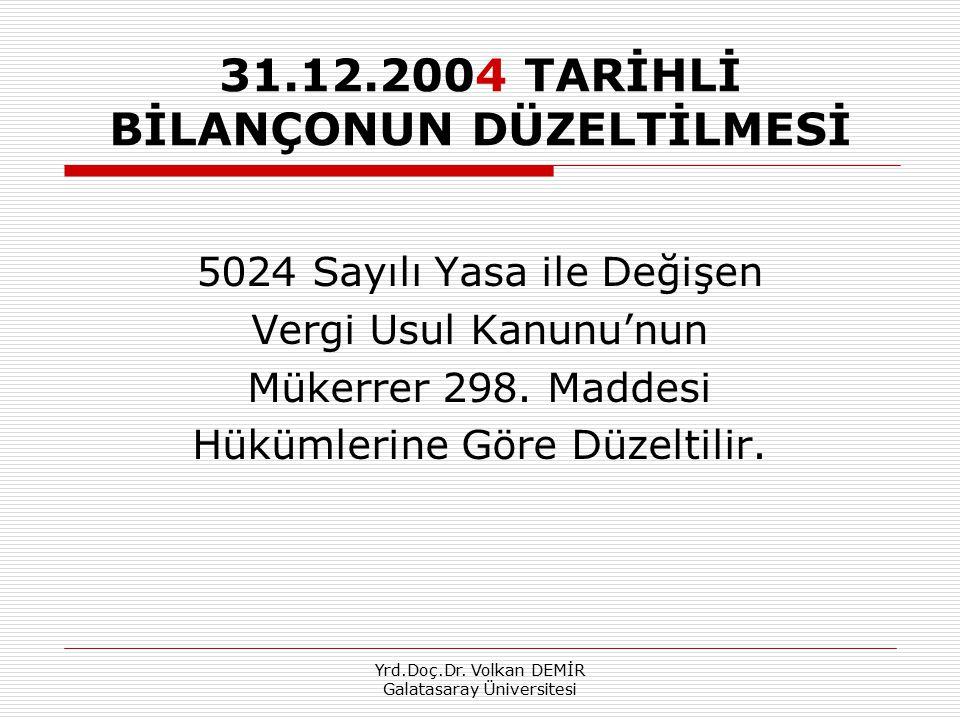 Yrd.Doç.Dr. Volkan DEMİR Galatasaray Üniversitesi 31.12.2004 TARİHLİ BİLANÇONUN DÜZELTİLMESİ 5024 Sayılı Yasa ile Değişen Vergi Usul Kanunu'nun Mükerr