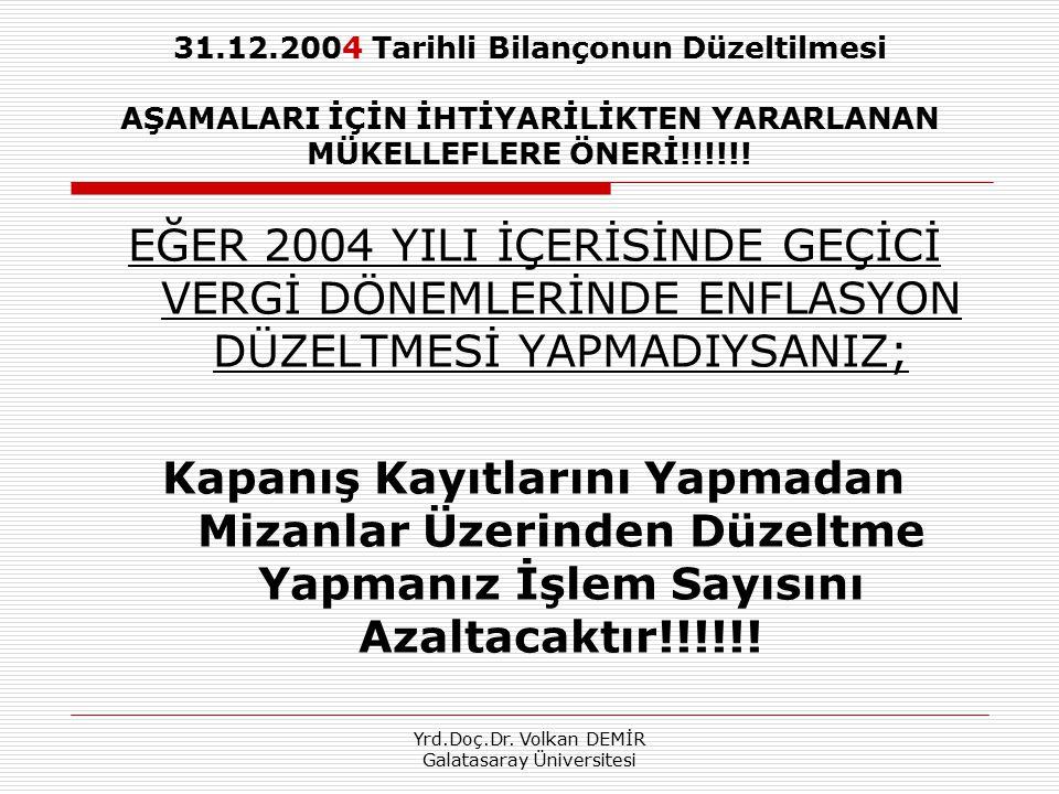 Yrd.Doç.Dr. Volkan DEMİR Galatasaray Üniversitesi 31.12.2004 Tarihli Bilançonun Düzeltilmesi AŞAMALARI İÇİN İHTİYARİLİKTEN YARARLANAN MÜKELLEFLERE ÖNE