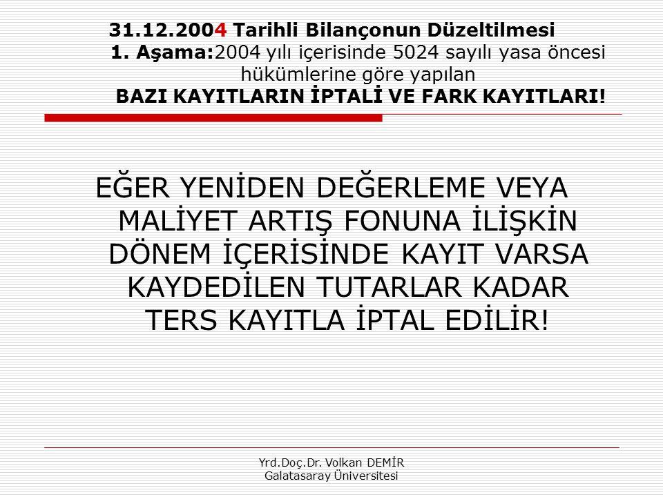 Yrd.Doç.Dr. Volkan DEMİR Galatasaray Üniversitesi 31.12.2004 Tarihli Bilançonun Düzeltilmesi 1. Aşama:2004 yılı içerisinde 5024 sayılı yasa öncesi hük