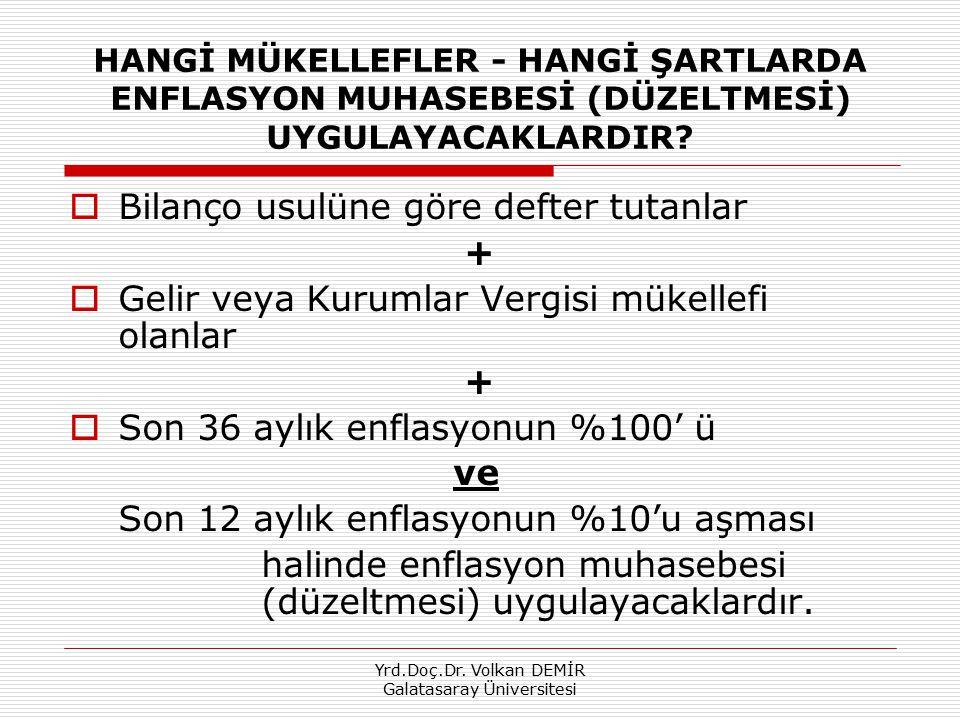 Yrd.Doç.Dr. Volkan DEMİR Galatasaray Üniversitesi HANGİ MÜKELLEFLER - HANGİ ŞARTLARDA ENFLASYON MUHASEBESİ (DÜZELTMESİ) UYGULAYACAKLARDIR?  Bilanço u