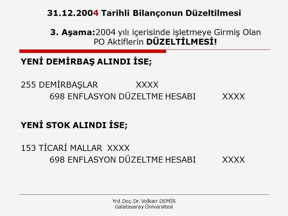 Yrd.Doç.Dr. Volkan DEMİR Galatasaray Üniversitesi 31.12.2004 Tarihli Bilançonun Düzeltilmesi 3. Aşama:2004 yılı içerisinde işletmeye Girmiş Olan PO Ak