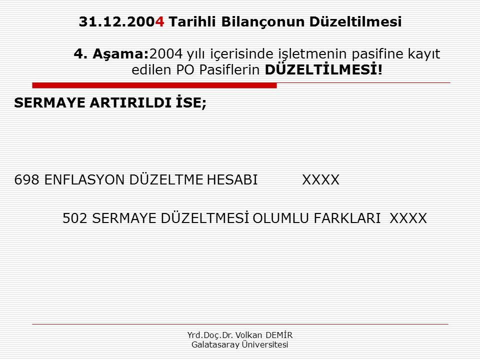 Yrd.Doç.Dr. Volkan DEMİR Galatasaray Üniversitesi 31.12.2004 Tarihli Bilançonun Düzeltilmesi 4. Aşama:2004 yılı içerisinde işletmenin pasifine kayıt e