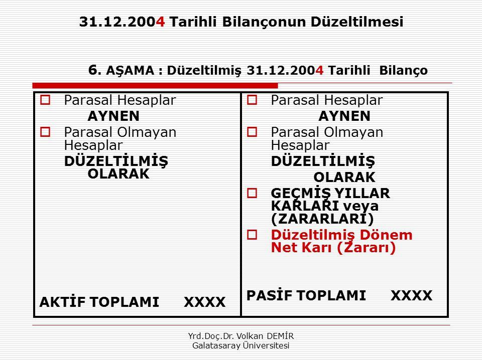 Yrd.Doç.Dr. Volkan DEMİR Galatasaray Üniversitesi 31.12.2004 Tarihli Bilançonun Düzeltilmesi 6. AŞAMA : Düzeltilmiş 31.12.2004 Tarihli Bilanço  Paras