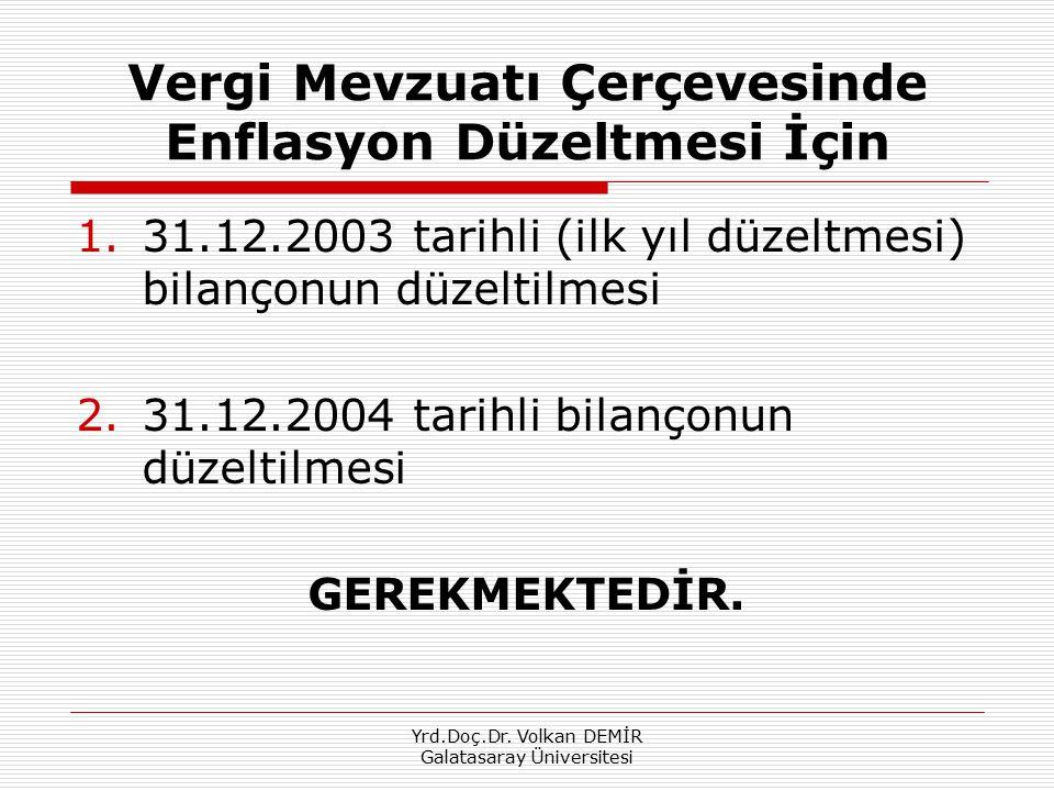 Yrd.Doç.Dr. Volkan DEMİR Galatasaray Üniversitesi Vergi Mevzuatı Çerçevesinde Enflasyon Düzeltmesi İçin 1.31.12.2003 tarihli (ilk yıl düzeltmesi) bila