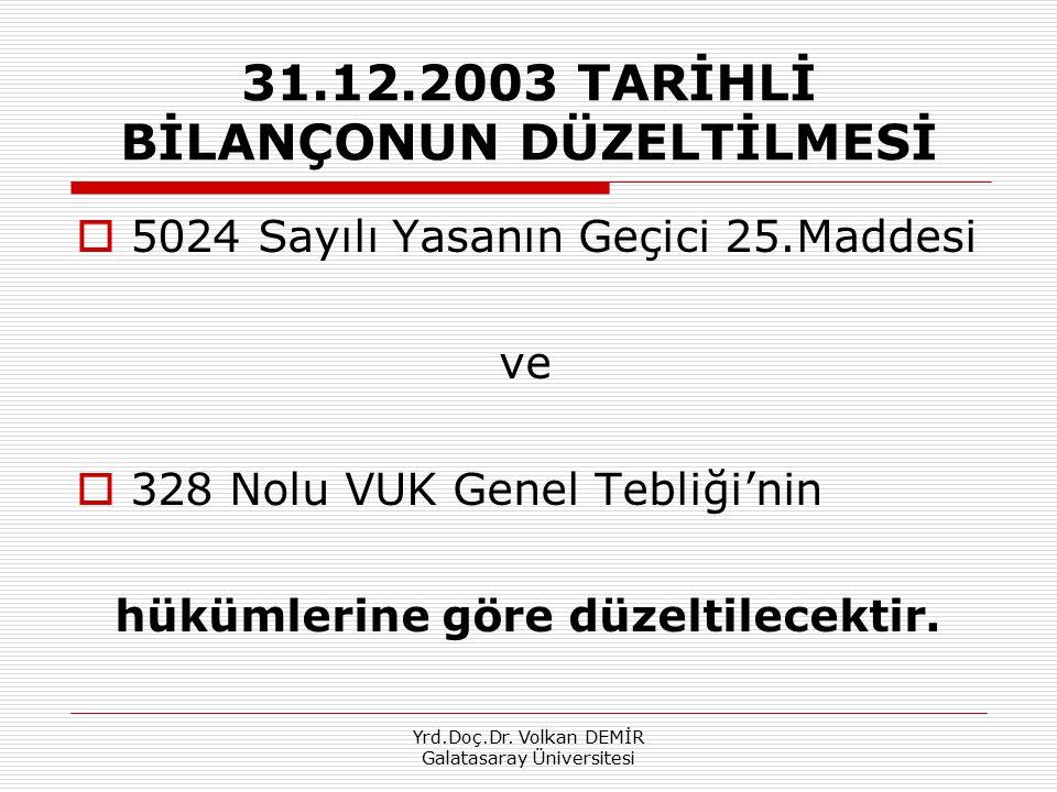 Yrd.Doç.Dr.Volkan DEMİR Galatasaray Üniversitesi 31.12.2003 Tarihli Bilançonun Düzeltilmesi 4.