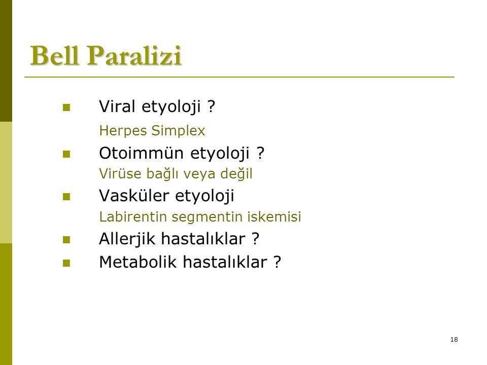 18 Bell Paralizi Viral etyoloji .Herpes Simplex Otoimmün etyoloji .