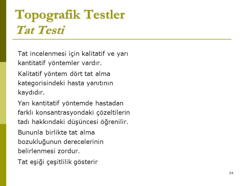 24 Topografik Testler Tat Testi Tat incelenmesi için kalitatif ve yarı kantitatif yöntemler vardır.