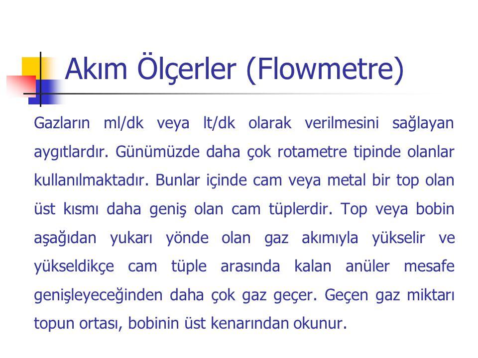 Akım Ölçerler (Flowmetre) Gazların ml/dk veya lt/dk olarak verilmesini sağlayan aygıtlardır. Günümüzde daha çok rotametre tipinde olanlar kullanılmakt