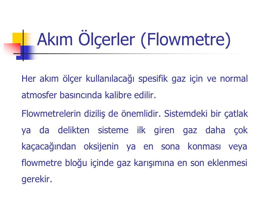 Akım Ölçerler (Flowmetre) Her akım ölçer kullanılacağı spesifik gaz için ve normal atmosfer basıncında kalibre edilir. Flowmetrelerin diziliş de öneml