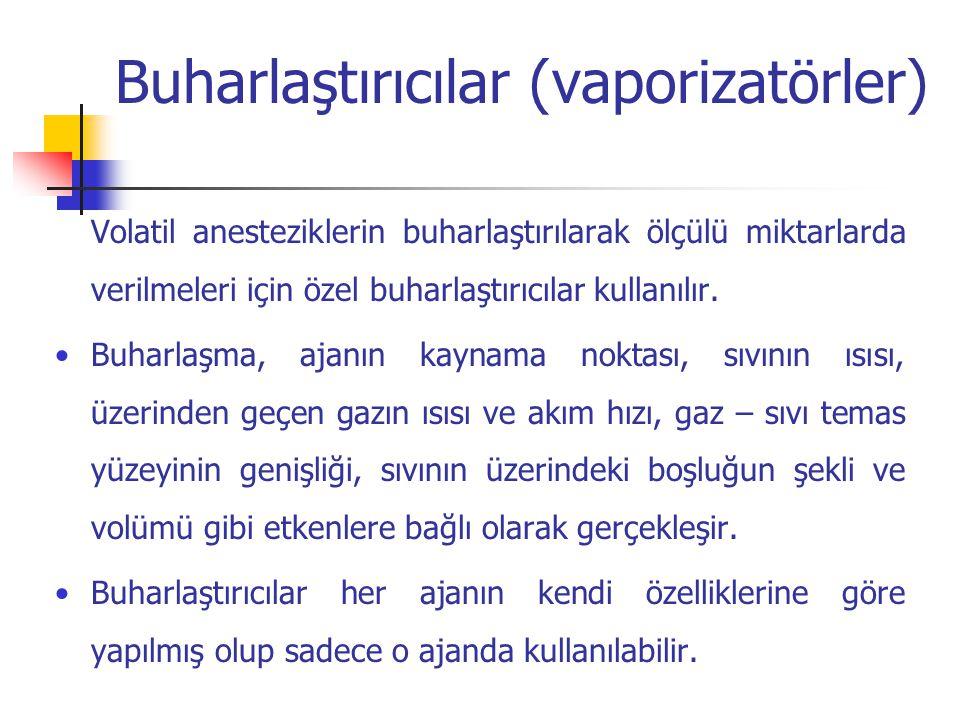 Buharlaştırıcılar (vaporizatörler) Volatil anesteziklerin buharlaştırılarak ölçülü miktarlarda verilmeleri için özel buharlaştırıcılar kullanılır. Buh