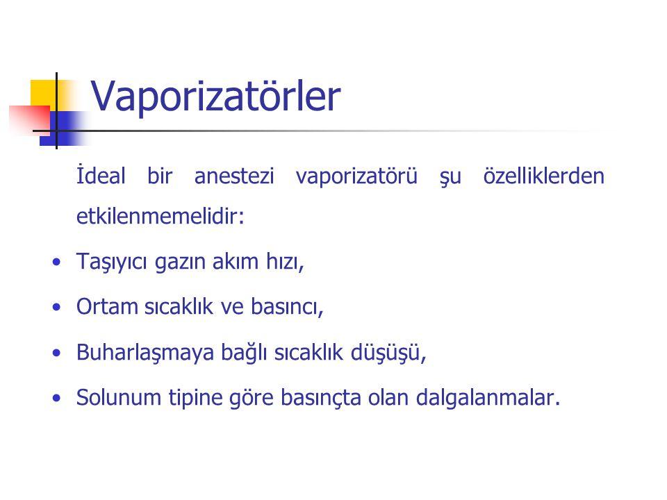 Vaporizatörler İdeal bir anestezi vaporizatörü şu özelliklerden etkilenmemelidir: Taşıyıcı gazın akım hızı, Ortam sıcaklık ve basıncı, Buharlaşmaya ba