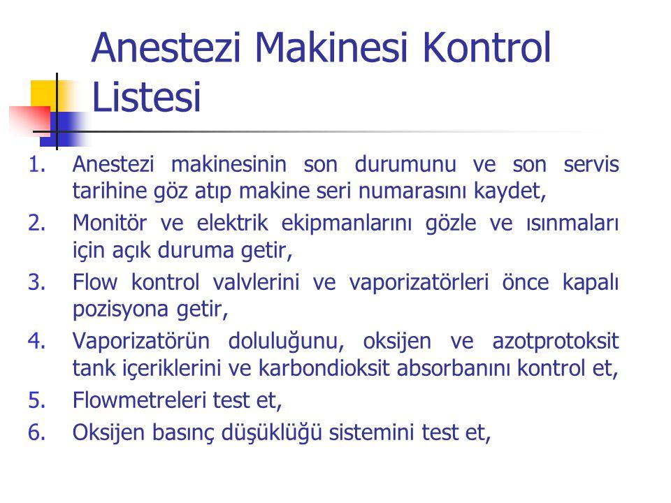 Anestezi Makinesi Kontrol Listesi 1.Anestezi makinesinin son durumunu ve son servis tarihine göz atıp makine seri numarasını kaydet, 2.Monitör ve elek