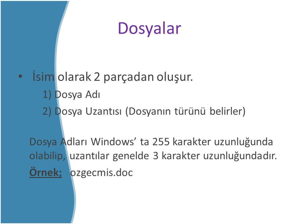 Dosyalar İsim olarak 2 parçadan oluşur. 1) Dosya Adı 2) Dosya Uzantısı (Dosyanın türünü belirler) Dosya Adları Windows' ta 255 karakter uzunluğunda ol