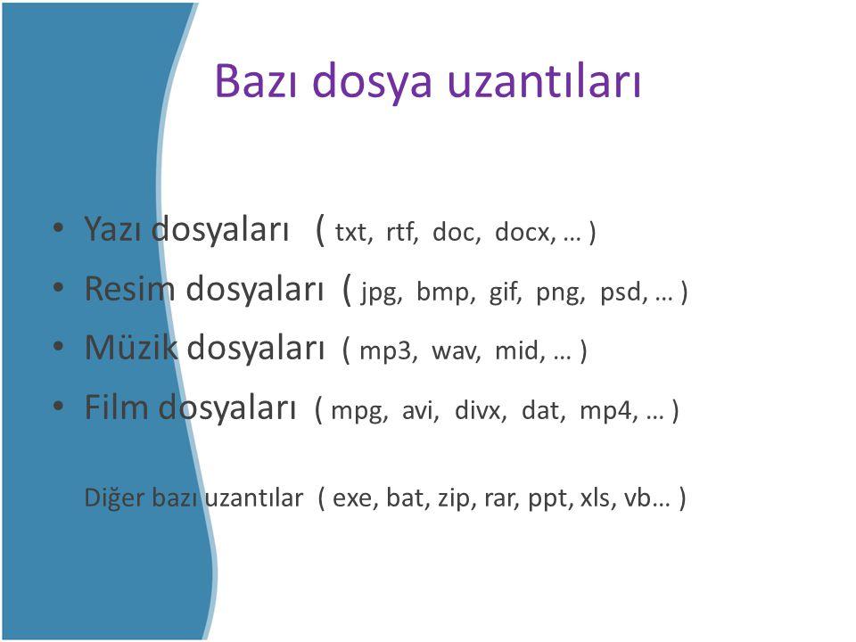Bazı dosya uzantıları Yazı dosyaları ( txt, rtf, doc, docx, … ) Resim dosyaları ( jpg, bmp, gif, png, psd, … ) Müzik dosyaları ( mp3, wav, mid, … ) Fi