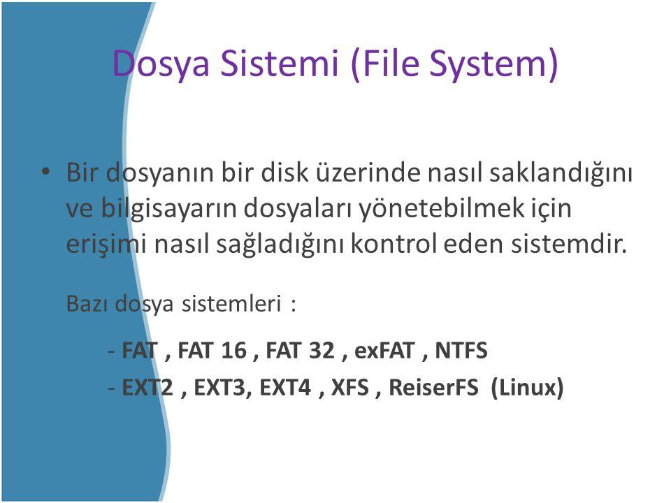 Dosya Sistemi (File System) Bir dosyanın bir disk üzerinde nasıl saklandığını ve bilgisayarın dosyaları yönetebilmek için erişimi nasıl sağladığını ko