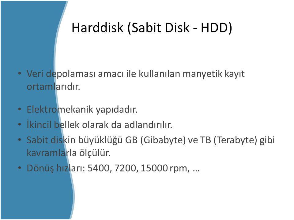 Harddisk (Sabit Disk - HDD) Veri depolaması amacı ile kullanılan manyetik kayıt ortamlarıdır. Elektromekanik yapıdadır. İkincil bellek olarak da adlan