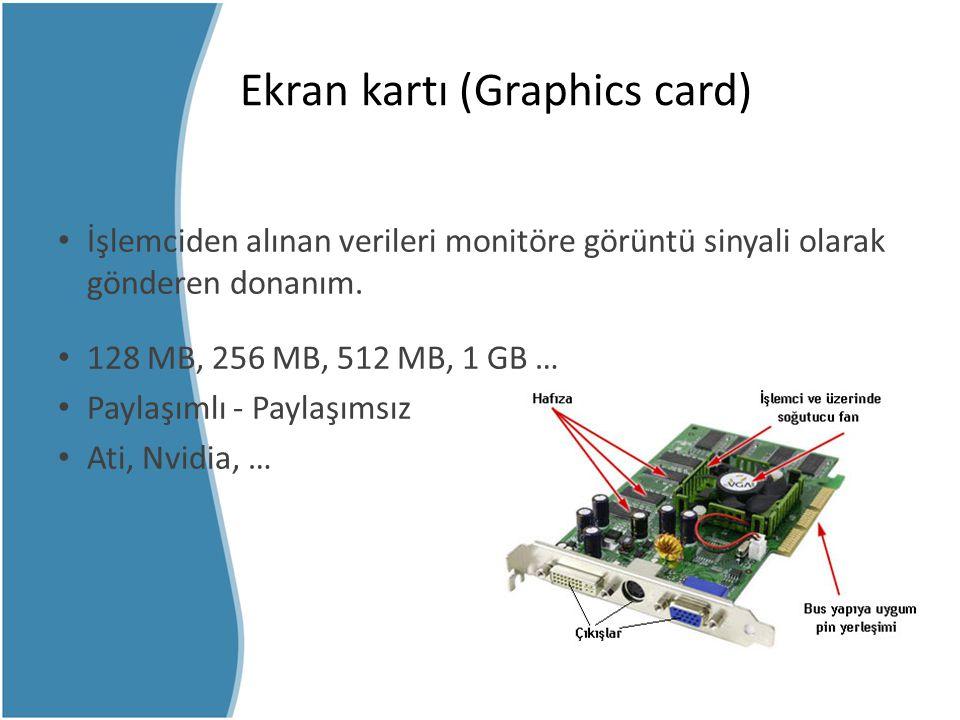 Ekran kartı (Graphics card) İşlemciden alınan verileri monitöre görüntü sinyali olarak gönderen donanım. 128 MB, 256 MB, 512 MB, 1 GB … Paylaşımlı - P