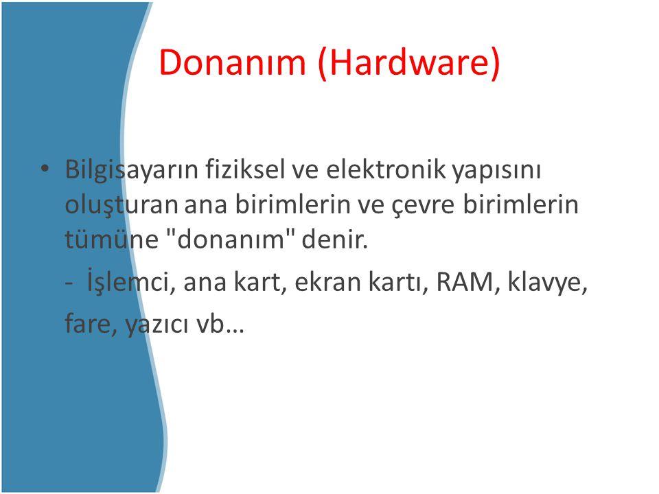 Yazılım (Software) Hem bilgisayar sistemini oluşturan donanım birimlerinin yönetimini hem de kullanıcıların işlerini yapmak için gerekli olan programlardır.