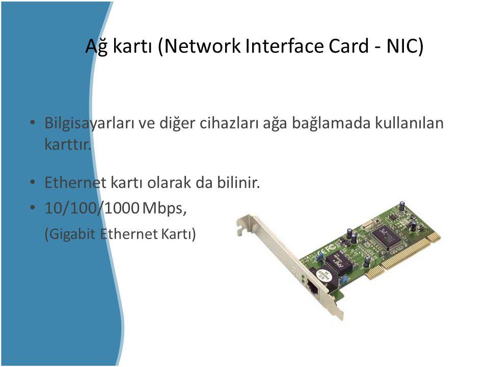 Ağ kartı (Network Interface Card - NIC) Bilgisayarları ve diğer cihazları ağa bağlamada kullanılan karttır. Ethernet kartı olarak da bilinir. 10/100/1