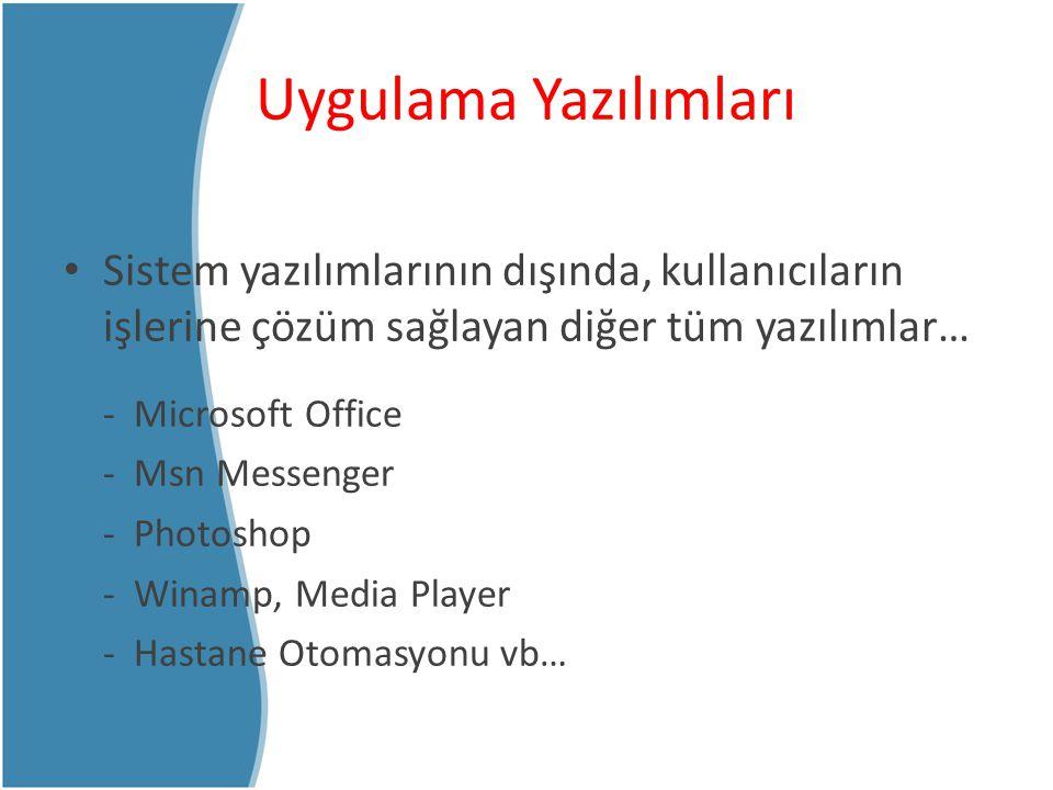 İşletim Sistemi (Operating System) Bilgisayar kullanıcısı ile bilgisayarı oluşturan donanım arasındaki iletişimi sağlayan, aynı zamanda diğer uygulama yazılımlarını çalıştırmaktan sorumlu olan sistem yazılımı.