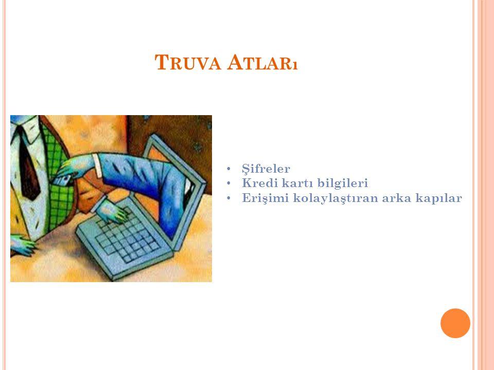 T RUVA A TLARı Şifreler Kredi kartı bilgileri Erişimi kolaylaştıran arka kapılar