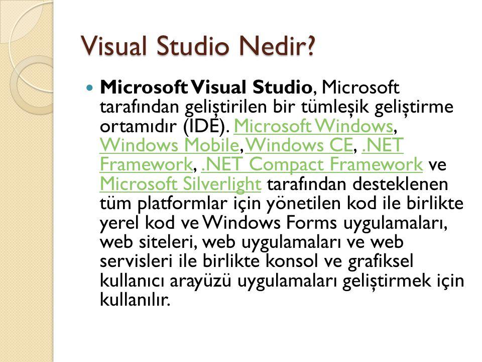 Visual Studio Nedir? Microsoft Visual Studio, Microsoft tarafından geliştirilen bir tümleşik geliştirme ortamıdır (IDE). Microsoft Windows, Windows Mo