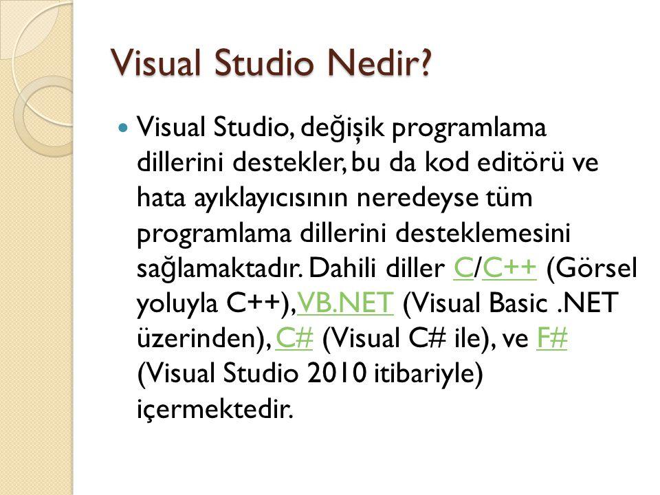 Visual Studio Nedir? Visual Studio, de ğ işik programlama dillerini destekler, bu da kod editörü ve hata ayıklayıcısının neredeyse tüm programlama dil