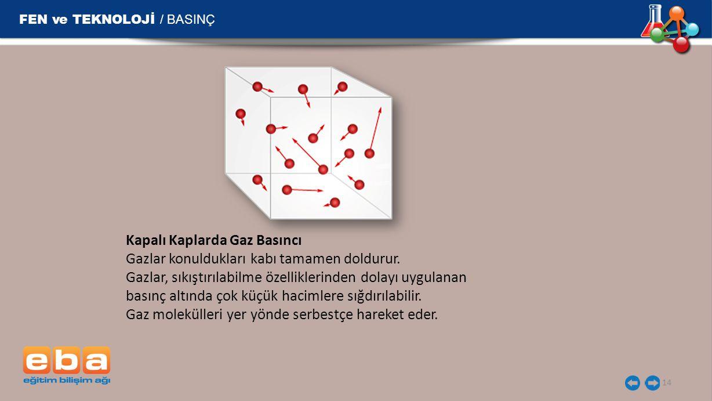 FEN ve TEKNOLOJİ / BASINÇ 14 Kapalı Kaplarda Gaz Basıncı Gazlar konuldukları kabı tamamen doldurur. Gazlar, sıkıştırılabilme özelliklerinden dolayı uy