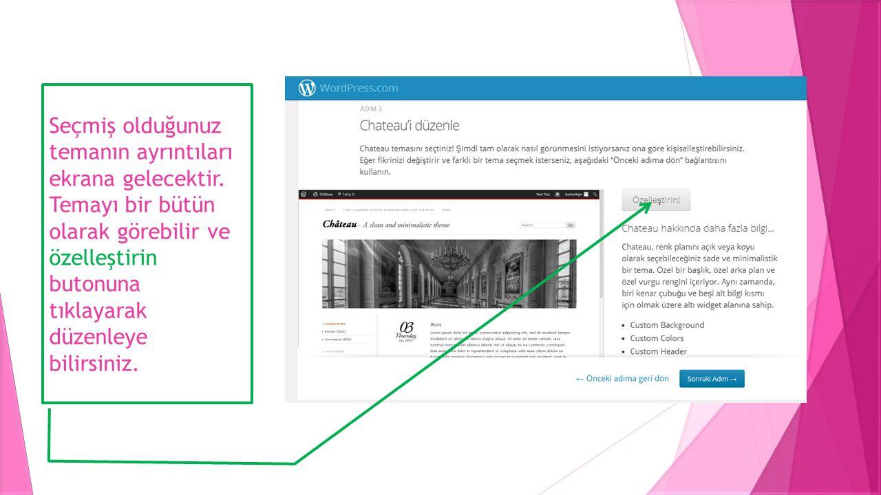 Özelleştir butonuna tıklandığında seçmiş olduğunuz temayı düzenlemeniz için sayfasın sağında bir pencere açılır.