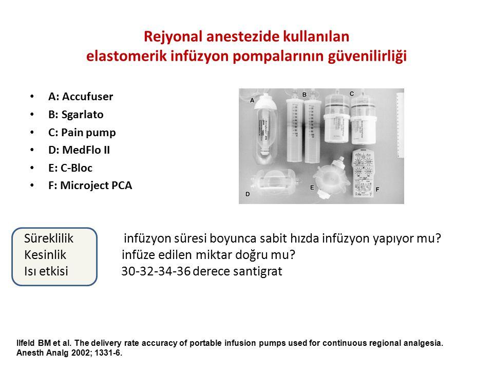 Rejyonal anestezide kullanılan elastomerik infüzyon pompalarının güvenilirliği A: Accufuser B: Sgarlato C: Pain pump D: MedFlo II E: C-Bloc F: Microje