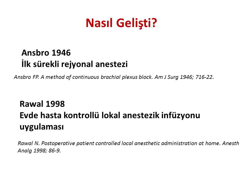 Nasıl Gelişti? Ansbro 1946 İlk sürekli rejyonal anestezi Ansbro FP. A method of continuous brachial plexus block. Am J Surg 1946; 716-22. Rawal N. Pos