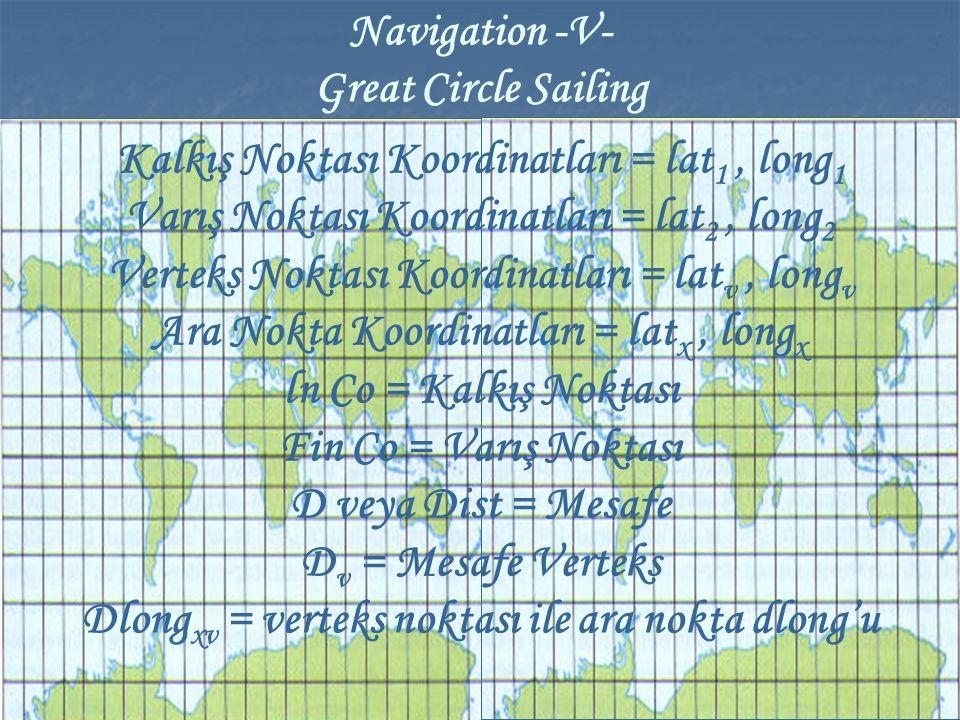 Kalkış Noktası Koordinatları = lat 1, long 1 Varış Noktası Koordinatları = lat 2, long 2 Verteks Noktası Koordinatları = lat v, long v Ara Nokta Koord